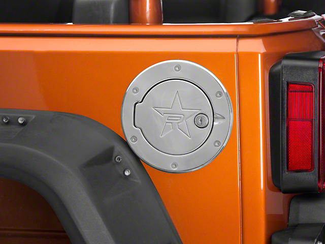 RBP RX-2 Locking Fuel Door; Polished (07-18 Jeep Wrangler JK)