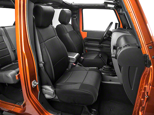 Smittybilt Neoprene Front and Rear Seat Covers; Black (07-18 Jeep Wrangler JK)