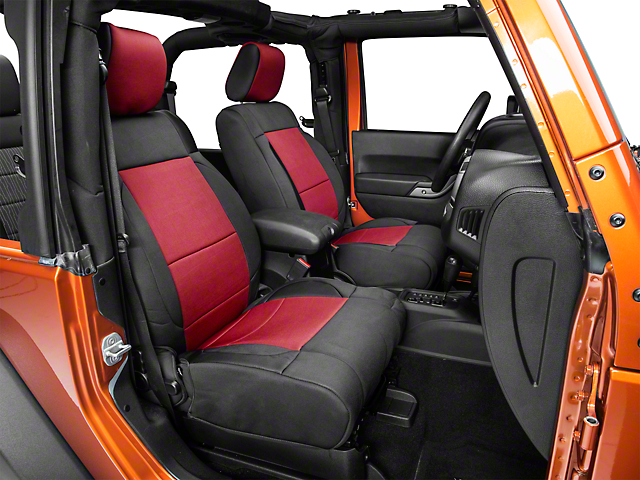 Smittybilt Neoprene Front and Rear Seat Covers; Black/Red (07-18 Jeep Wrangler JK)