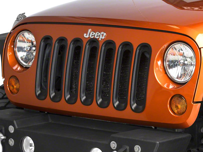 RedRock 4x4 Grille Inserts - Black (07-18 Jeep Wrangler JK)