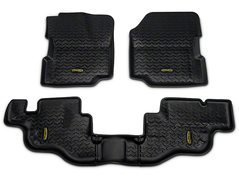 Barricade Front & Rear Floor Liners - Black (87-95 Jeep Wrangler YJ)