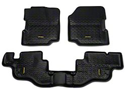 Barricade Front and Rear Floor Mats; Black (87-95 Jeep Wrangler YJ)
