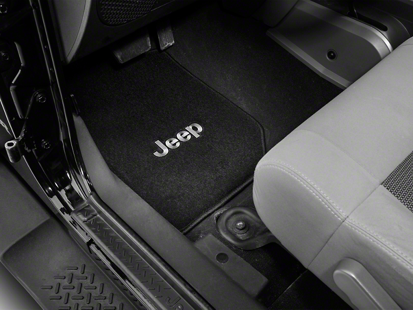 Lloyd Front & Rear Floor Mats w/ Jeep Logo - Black (07-10 Jeep Wrangler JK 2 Door)