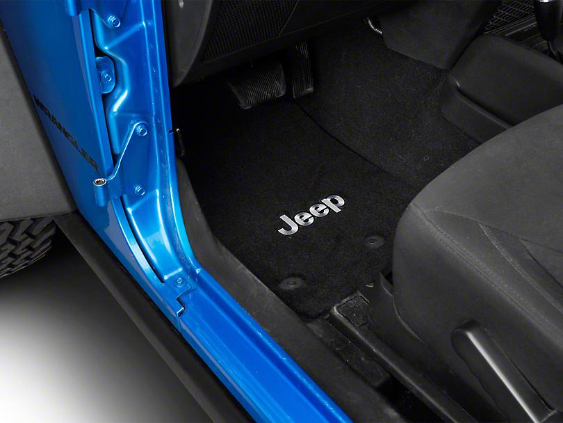 Lloyd Front & Rear Floor Mats w/ Jeep Logo - Black (14-18 Jeep Wrangler JK 2 Door)