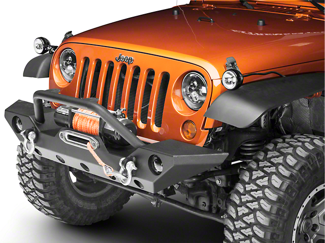 Rugged Ridge 3-Inch Round Halogen Lights with Hood Catch Mounting Brackets (07-18 Jeep Wrangler JK)