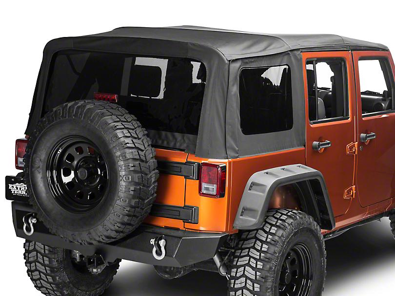 Barricade Premium Replacement Sailcloth Soft Top w/ Tinted Windows - Black Diamond (10-18 Jeep Wrangler JK 4 Door)