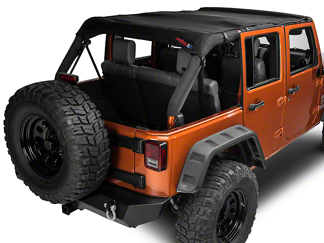 JTopsUSA Mesh Shade Top; Black (07-18 Jeep Wrangler JK 4 Door)