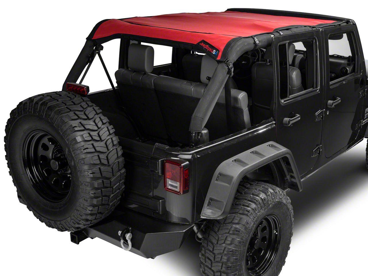 JTopsUSA Mesh Shade Top - Red (07-18 Jeep Wrangler JK 4 Door)
