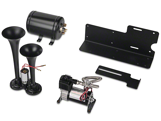 TrailBlaster Dual Air Horn Kit; Black (07-18 Jeep Wrangler JK)
