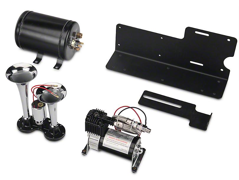 Kleinn TrailBlaster Dual Air Horn Kit - Chrome (07-18 Jeep Wrangler JK; 2018 Jeep Wrangler JL)