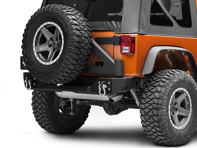 Iron Cross Stubby Rear Bumper with Tire Carrier; Matte Black (07-18 Jeep Wrangler JK)