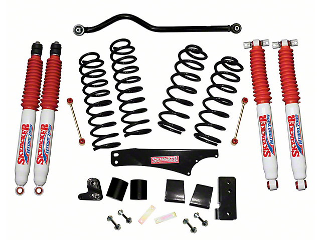 SkyJacker 3.50-Inch Softride Suspension Lift Kit with Hydro Shocks and Adjustable Front Track Bar (07-18 Jeep Wrangler JK 2 Door)