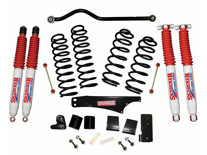 SkyJacker 4 in. Softride Lift Kit w/ Hydro Shocks & Adjustable Front Track Bar (07-18 Jeep Wrangler JK 4 Door)