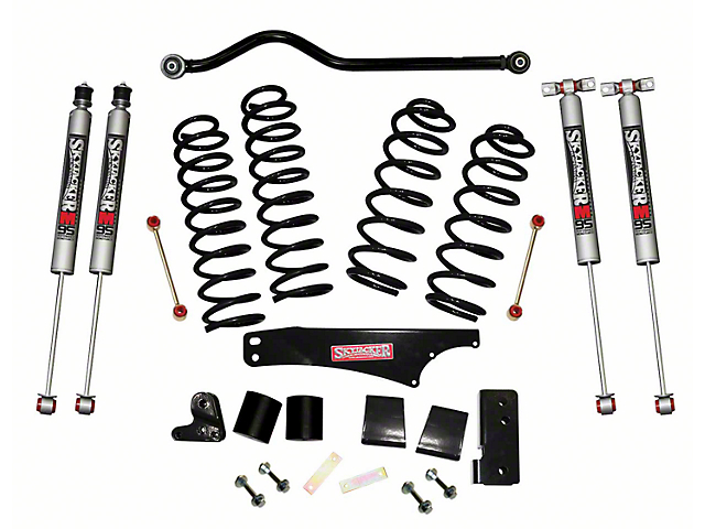 SkyJacker 4-Inch Softride Lift Kit with M95 Performance Shocks and Adjustable Front Track Bar (07-18 Jeep Wrangler JK 4 Door)