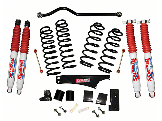 SkyJacker 4-Inch Softride Lift Kit with Nitro Shocks and Adjustable Front Track Bar (07-18 Jeep Wrangler JK 4 Door)