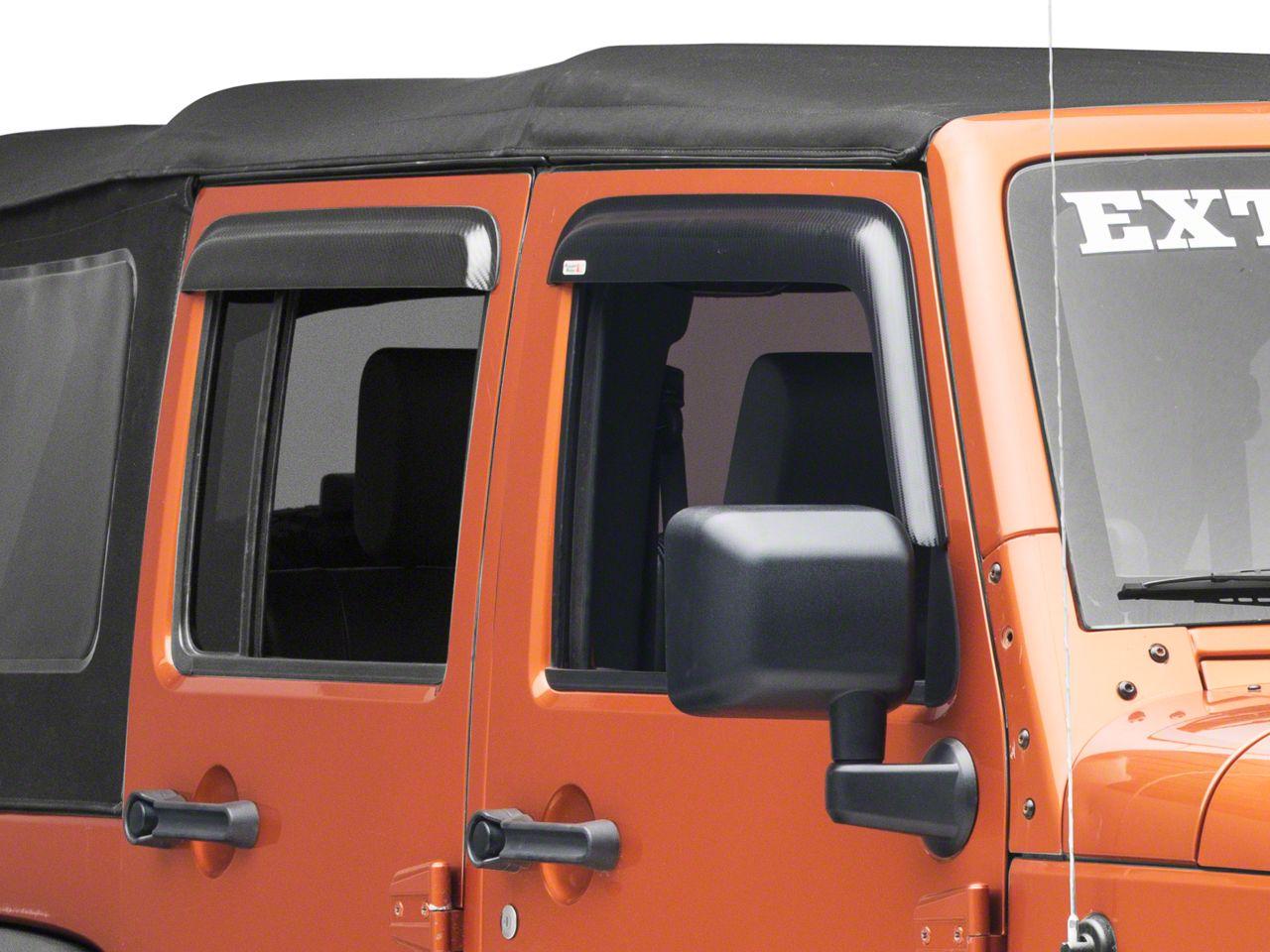 Rugged Ridge Window Visors - Carbon Fiber (07-18 Jeep Wrangler JK 4 Door)