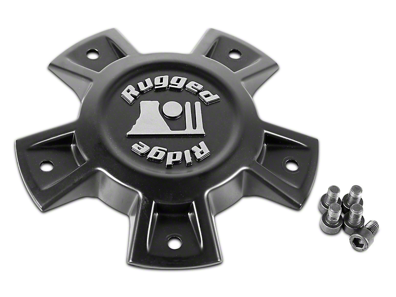Rugged Ridge Trail Runner Classic Black Steel Wheel Center Cap (07-18 Jeep Wrangler JK)
