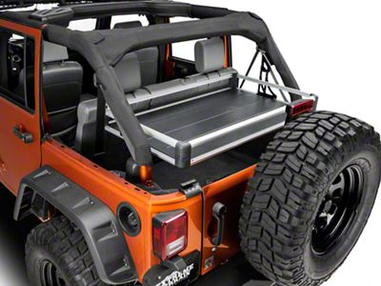 Teraflex Rear Utility Cargo Rack - Silver (07-18 Jeep Wrangler JK 4 Door)