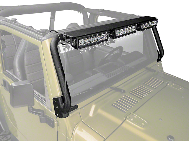 Rugged Ridge 13.5 in. LED Light Bars w/ Windshield Mounted Light Bar (97-06 Wrangler TJ)