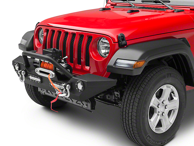 Barricade Trail Force HD Front Bumper w/ LED Lights & Winch Combo (18-20 Jeep Wrangler JL)