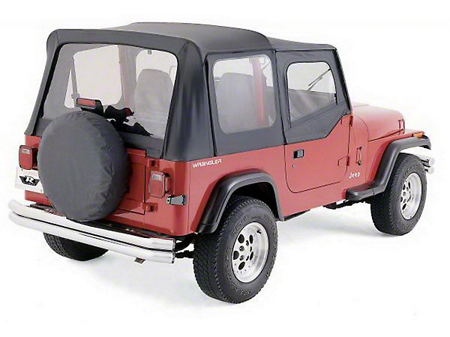 Factory Replacement Soft Top with Clear Windows; Black Denim (88-95 Jeep Wrangler YJ)