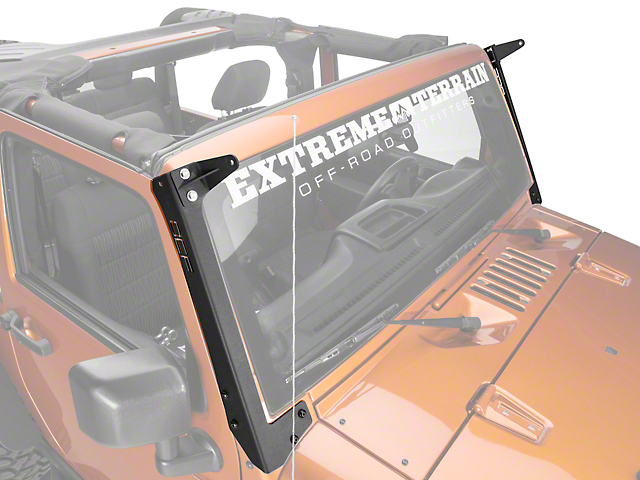 Off Camber Fabrications by MBRP Single 50 in. LED Light Bar Formed Windshield Mounting Brackets (07-18 Wrangler JK)