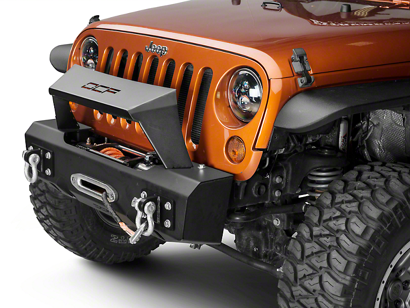 Off Camber Fabrications by MBRP Stubby Front Winch Bumper w/ Formed Light Bar (07-18 Jeep Wrangler JK)