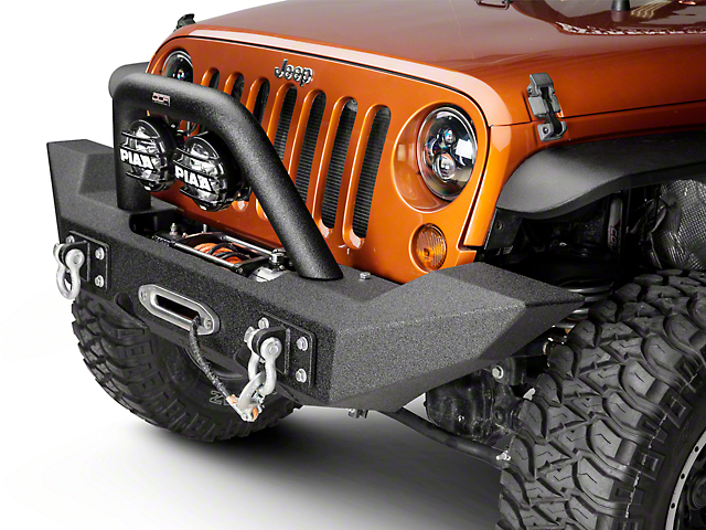 Off Camber Fabrications by MBRP Full Width Front Winch Bumper Package - LineX Coated (07-18 Wrangler JK)