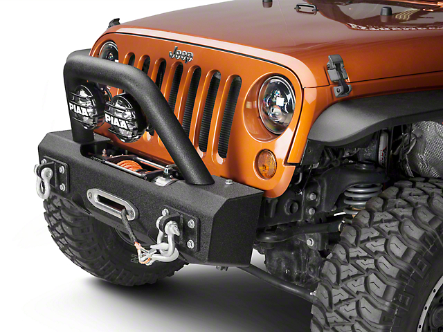 Off Camber Fabrications by MBRP Stubby Front Winch Bumper Package - LineX Coated (07-18 Jeep Wrangler JK)