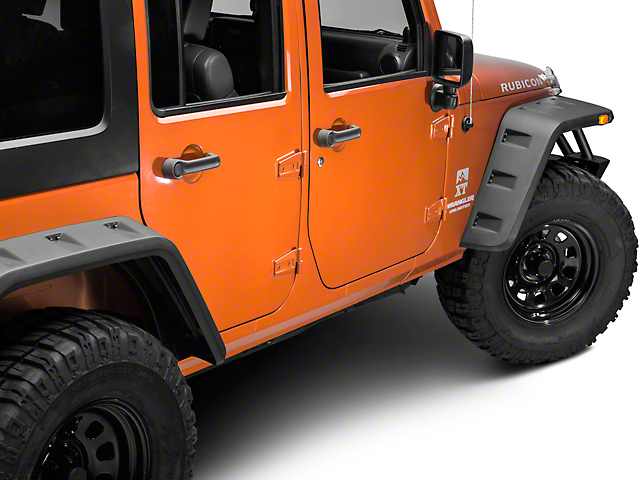 Off Camber Fabrications by MBRP Rock Rail Kit; LineX Coated (07-18 Jeep Wrangler JK 4 Door)