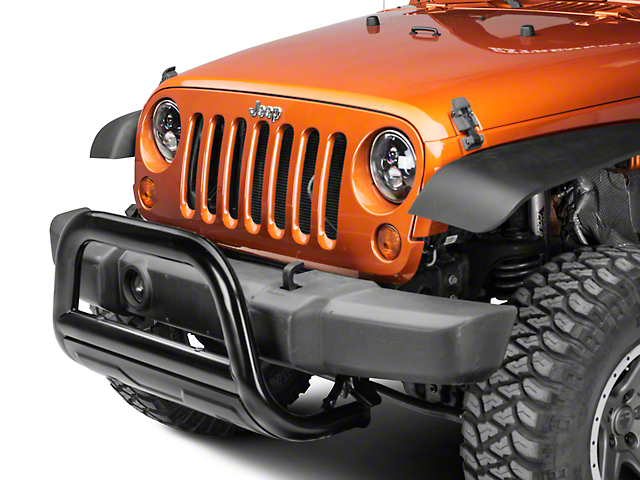 Barricade 3.5 in. Oval Bull Bar w/ Formed Skid Plate - Black (10-18 Jeep Wrangler JK)