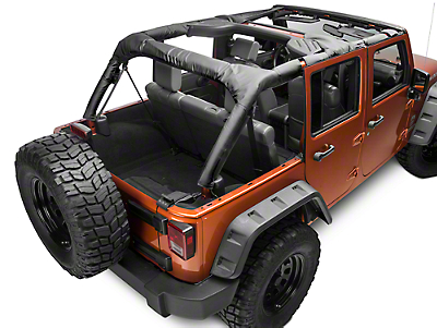 Dirty Dog 4x4 Roll Bar Covers - Black (07-18 Wrangler JK 4 Door; 2018 Wrangler JL 4 Door)