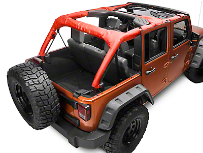 Dirty Dog 4x4 Roll Bar Covers - Red (07-18 Wrangler JK 4 Door; 2018 Wrangler JL 4 Door)
