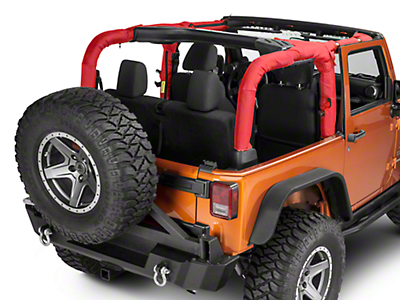 Dirty Dog 4x4 Roll Bar Covers - Red (07-18 Wrangler JK 2 Door)