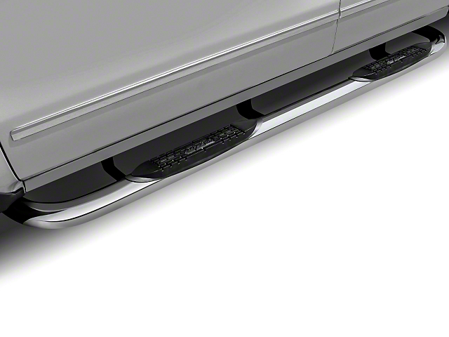Raptor Series 3-Inch Round Nerf Side Step Bars; Polished Stainless (97-06 Jeep Wrangler TJ)