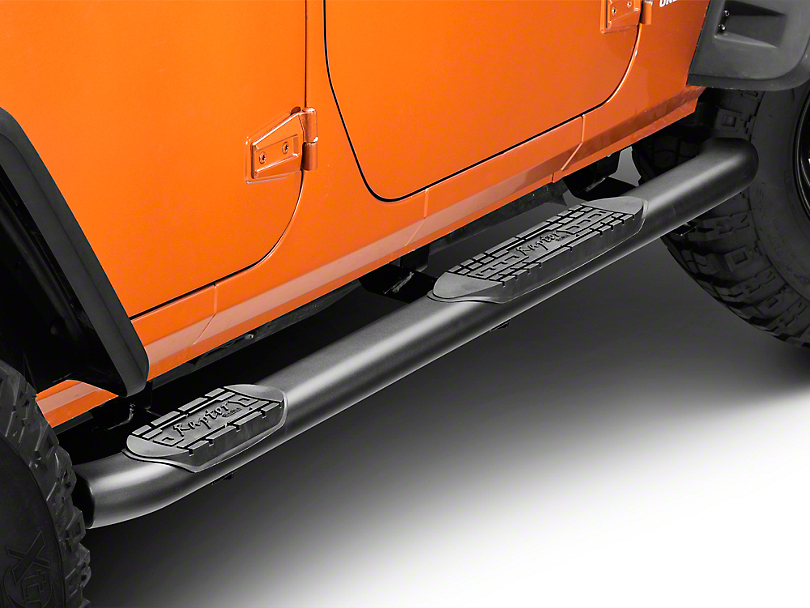 Raptor Series 4 in. OE Style Curved Oval Step Bars - Black Textured (07-18 Wrangler JK 4 Door)