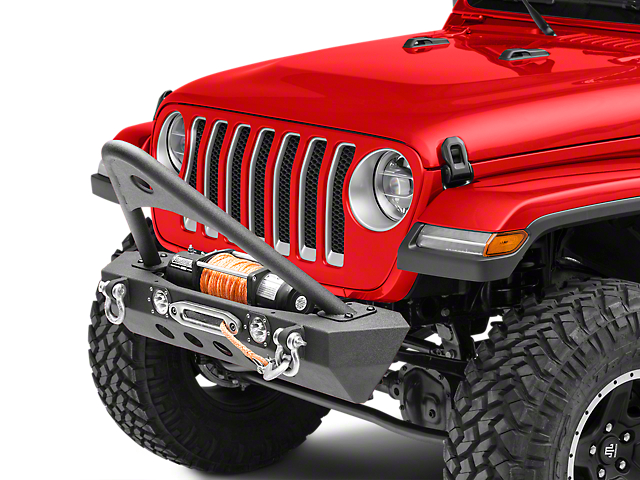RedRock 4x4 Stubby Winch Front Bumper with LED Lights and Stinger Bar (18-20 Jeep Wrangler JL)