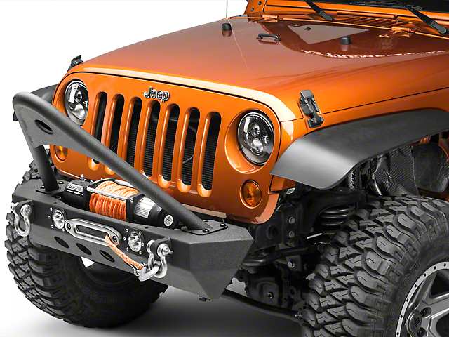 RedRock 4x4 Stubby Winch Front Bumper with LED Lights and Stinger Bar (07-18 Jeep Wrangler JK)