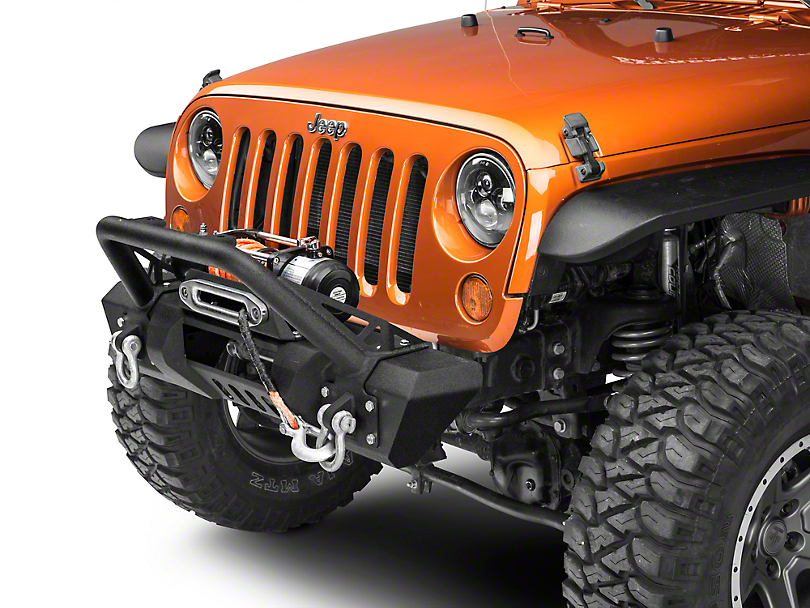 RedRock 4x4 Stubby HD Pre-Runner Front Bumper w/ Light Bar Tabs & Winch Mount (07-18 Jeep Wrangler JK)