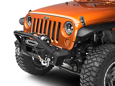 RedRock 4x4 Stubby HD Pre-Runner Front Bumper w/ Light Bar Tabs & Winch Mount (07-18 Wrangler JK)