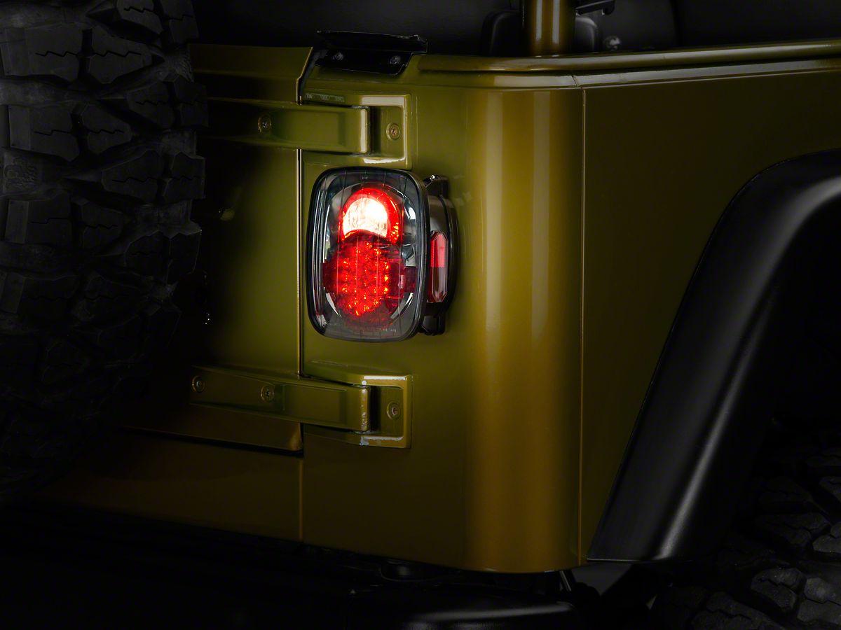 Jeep Wrangler Led Tail Lights >> Axial Led Tail Lights Platinum Smoke 87 06 Jeep Wrangler Yj Tj