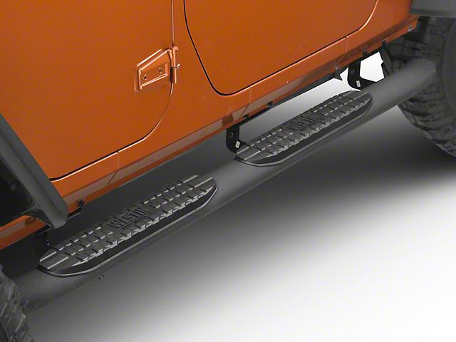 Westin Pro Traxx 4 in. Oval Step Bars - Black Wrinkle (07-18 Jeep Wrangler JK 4 Door)