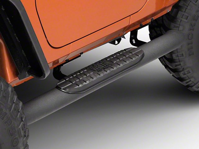 Westin 4 in. Pro Traxx Oval Side Step Bars - Black (07-18 Jeep Wrangler JK 2 Door)