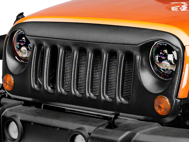 DV8 Off-Road Angry Eye Design Grille - Textured Black (07-17 Wrangler JK)
