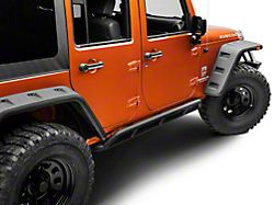 DV8 Off-Road Steel Rock Guard/Sliders - Black (07-18 Jeep Wrangler JK 4 Door)
