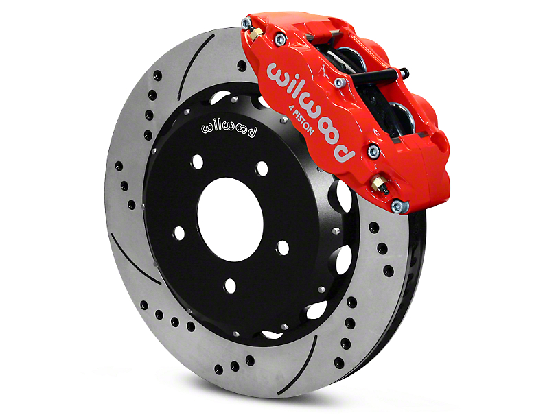 Wilwood Superlite 4R Front Big Brake Kit with Drilled Rotors; Red Calipers (07-18 Jeep Wrangler JK)