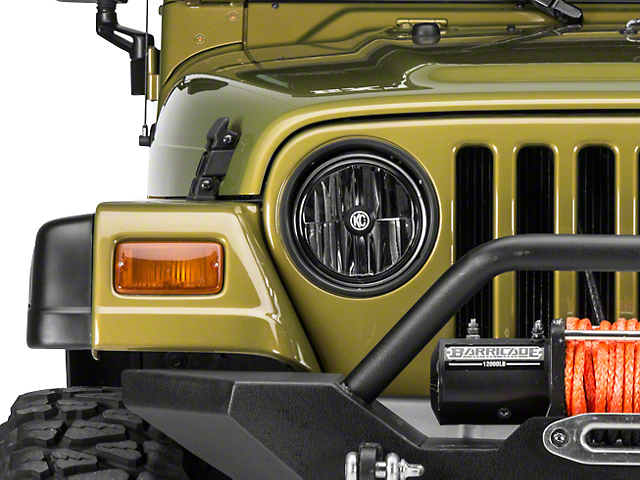 KC HiLiTES Gravity LED 7-Inch Headlights; Black Housing; Clear Lens (97-06 Jeep Wrangler TJ)