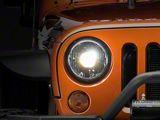 KC HiLiTES Gravity LED Pro 7-Inch Headlights; Black Housing; Clear Lens (07-18 Jeep Wrangler JK)