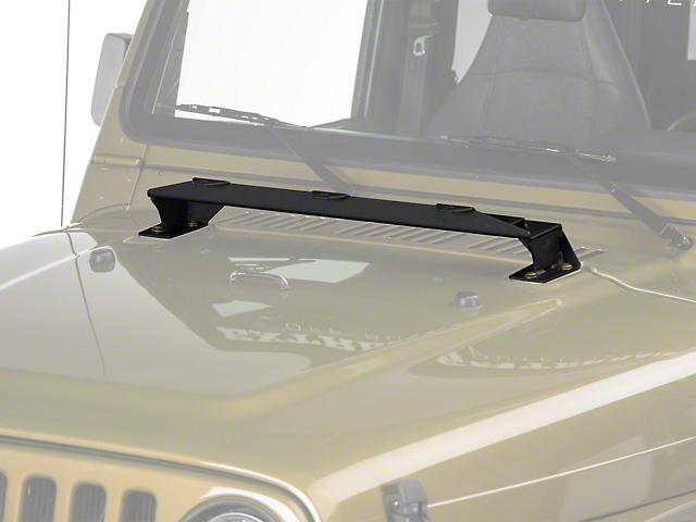 KC HiLiTES 3-Tab Hood Mount Light Bar - Textured Black (97-06 Jeep Wrangler TJ)