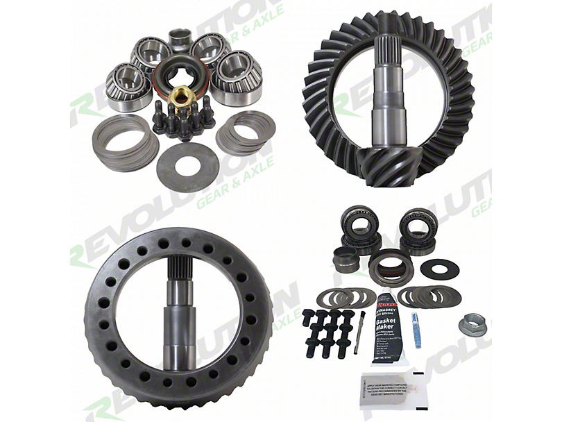 Revolution Gear & Axle Dana 30 Front Axle/44 Rear Axle Ring Gear and Pinion Kit w/ Master Overhaul Kit - 4.56 Gears (07-18 Jeep Wrangler JK, Excluding Rubicon)